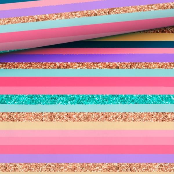 Regenbogen-Streifen-Fake-Glitter - pastell - Baumwoll-Jersey