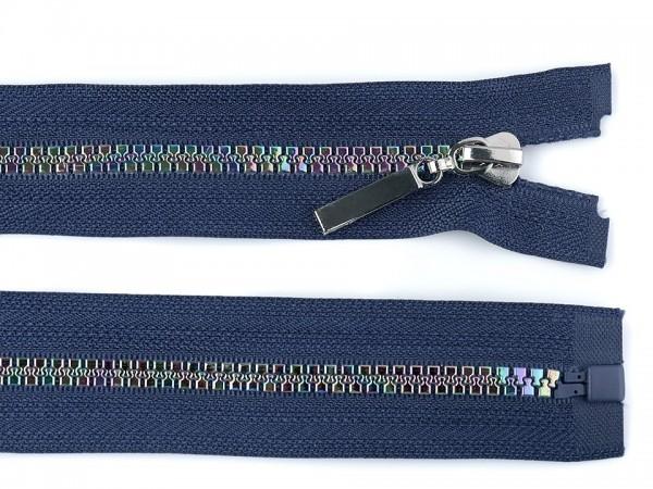 teilbarer Reißverschluss - blau-regenbogen - 80 cm - 1 Stk