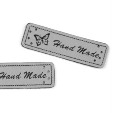 Kunstleder Label - Handmade - Schmetterling - grau