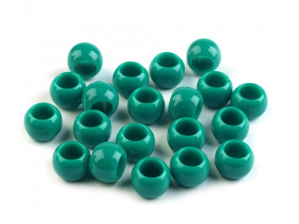 Großlochperle - glänzend - 7x10 mm - smaragdgrün - 1 Stk