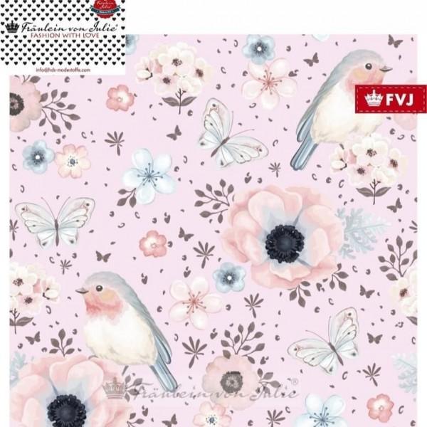 Fräulein von Julie - Flower Birds - rosa - Sweatshirt