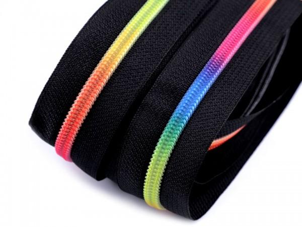 Endlosreißverschluss - schwarz-regenbogen - 6mm - Meterware