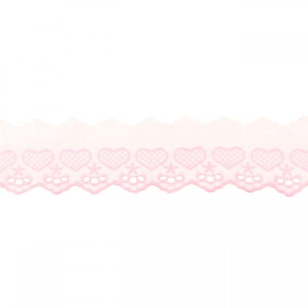 Wäschespitze Herzen - rosa - 50 mm