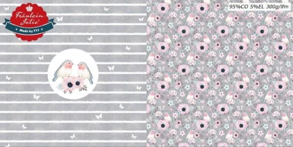 Fräulein von Julie - Flower Birds - Panel - denim hellgrau - BW-Jersey