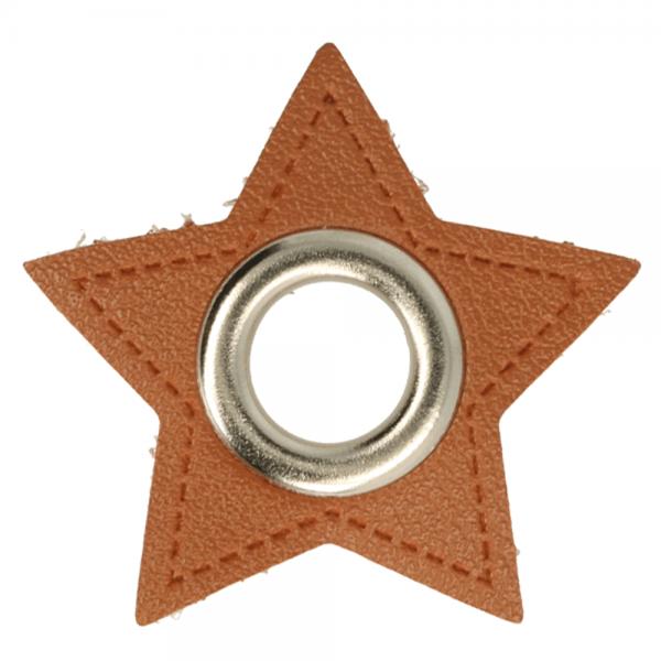 Ösenpatch - Stern - 8mm - braun-silber