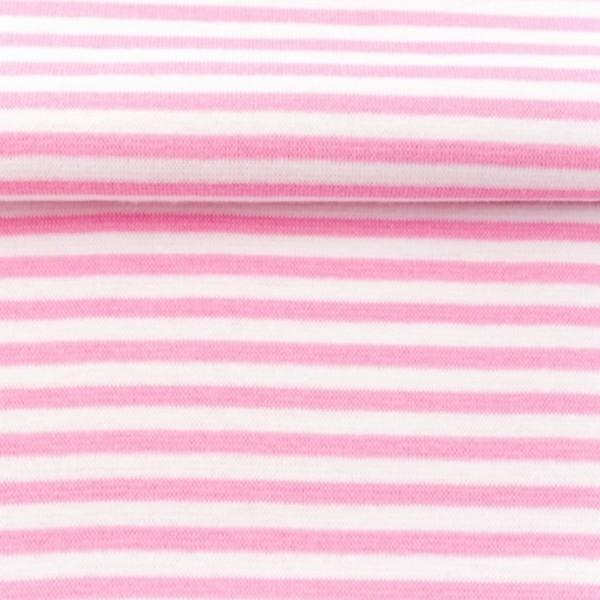 Bündchen - Feinripp - Streifen - rosa