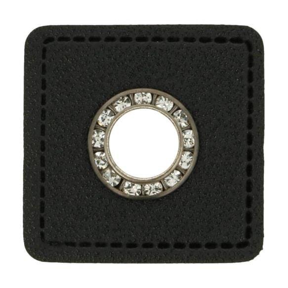 Ösenpatch Strass - Viereck - 8mm - schwarz-silber